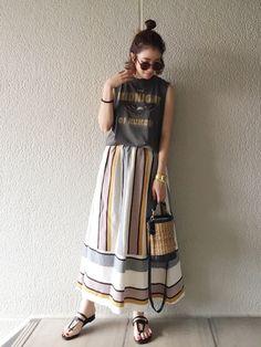 柄スカートがお気に入り♡