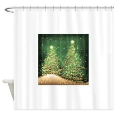 Sparkling Christmas Trees Green Shower Curtain On CafePress Curtains