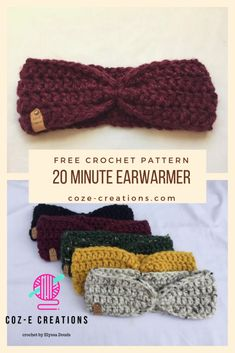 This super quick free crochet pattern will help your speed through your market prep! It is beginner friendly and looks great! This super quick free crochet pattern will help your speed through your market prep! It is beginner friendly and looks great! Crochet Ear Warmer Pattern, Quick Crochet Patterns, Crochet Simple, Crochet Diy, Crochet Amigurumi, Knitting Patterns, Quick Crochet Gifts, Crochet Hats, Crochet Ideas
