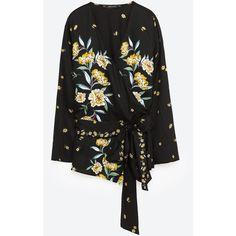 PRINTED KIMONO BLOUSE - NEW IN-WOMAN   ZARA United States (€38) ❤ liked on Polyvore featuring tops, blouses, kimono top and kimono blouse