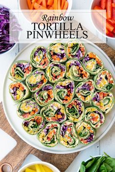 Tortilla Pinwheels Recipe - Healthy Appetizer Try these Rainbow Tortilla Pinwheels as soon as possible, we promise they will rock-your socks!Try these Rainbow Tortilla Pinwheels as soon as possible, we promise they will rock-your socks! Healthy Appetizers, Appetizer Recipes, Healthy Snacks, Mini Appetizers, Healthy Picnic Foods, Potluck Appetizers, Healthy Potluck, Vegetable Appetizers, Appetizer Ideas