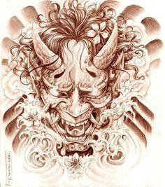 Geisha and Hannya Tattoo Design by on DeviantArt Tatuajes Tattoos, Bild Tattoos, Neue Tattoos, Body Art Tattoos, Sleeve Tattoos, Cool Tattoos, Hannya Maske Tattoo, Oni Mask Tattoo, Backpiece Tattoo