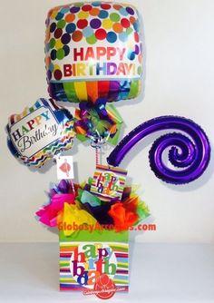 Arreglo de cumpleaños, Arreglo de feliz cumpleaños, Detalle para cumpleaños para entrada o centro de mesa, Arreglo globos cumpleaños, Arreglo aniversario para festejar, Arreglo de globos cumple, Arreglo de globos monterrey