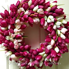 Pink and white tulip floral wreath by Twentycoats Wreath Creations (2016)