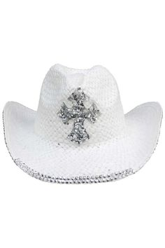 Luxury Divas White Straw Cowboy Hat With Sequin Cross Cowgirl Hats, Western Hats, Western Style, White Cowboy Hat, Wide-brim Hat, Cross Designs, Fashion Accessories, White White, Braid Crown