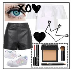 """""""Causal But Classy 😛🤘🏽"""" by sarahcb2002 ❤ liked on Polyvore featuring adidas Originals, Topshop and NARS Cosmetics"""