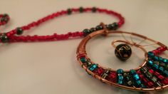 The Inward Spiral Copper Wire-Wrapped Beaded Necklace by Viloflux