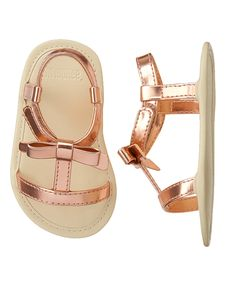 Baby Gold Metallic Bow Sandals by Gymboree