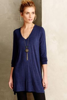 Anthropologie Long Form V-Neck XS-S-L Navy Blue Extra Long Tunic By Pure + Good  #PureGood #Tunic #Casual