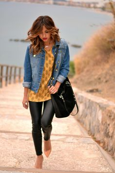 leather pants, denim jacket by just coco on Pepaloves Pineapples
