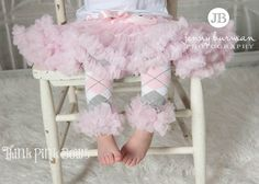 Baby leg warmers, leg warmers, baby leg ruffled warmers in pink, gray and white, girl legwarmers. $8.95, via Etsy.