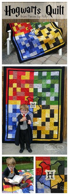 Never have I ever been so envious of a small child as I am of this little fellow with his Hogwarts quilt.