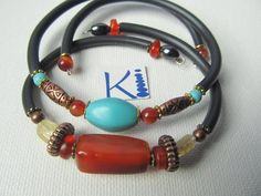 Carnelian or Turquoise Howlite Bracelet Memory Wire by KiCrystalCreations on Etsy Carnelian, Anklets, Wire, Beaded Bracelets, Trending Outfits, Unique Jewelry, Handmade Gifts, Turquoise, Crystals