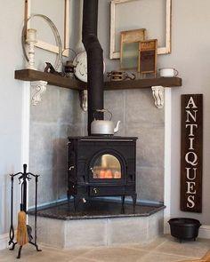 Corner Fireplace Mantel Makeover | DIYIdeaCenter.com