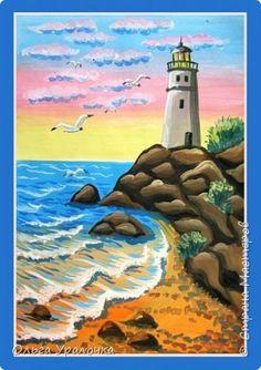 """Вот и пришло долгожданное лето! Хочется на на природу ближе к воде , а еще лучше на море. И мне хотелось бы приложить вашему вниманию мастер-класс по рисованию """"Пейзаж. На морском берегу"""". Работа может быть выполнении как людьми с опытом рисования, так и новичками . Рисунок будем выполнять поэтапно. Работа выполняется без предварительного рисунка. Нам понадобятся: гуашь ватман формата А-3. , нейлоновые кисти под номерами 2 , 3 ,5. фото 1"""