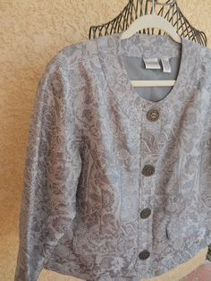 CHICO's Size 2 Jacket L XL Women Floral Gray Thin Brocade Lined New NWOT  #Chicos #BasicJacket