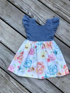 Fashionable Tops For Girls Online Girls Easter Dresses, Dresses Kids Girl, Frocks For Girls, Baby Dresses, Dress Girl, Girls Denim Dress, Easter Dresses For Toddlers, Baby Outfits, Kids Outfits