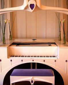 Piano by Charles Rennie Mackintosh. From the Music Room - House For An Art Lover.  Glasgow.