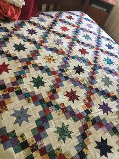 Beautiful scrappy star quilt. #IrishCrochetPatterns
