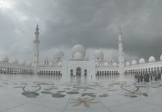 Pale white ghostly mosque architecture