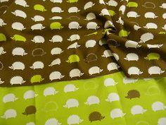 Japanese modern hedgehog design cotton fabric by OishiiFabrics, ¥1400