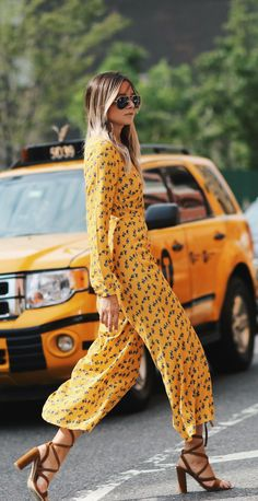 This yellow jumpsuit will catch eyes everywhere! Just pair it with brown heels and sunnies! Via Danielle BernsteinJumpsuit: ASOS, Heels: Tony Bianco
