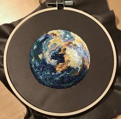 Tried embroidering the 'mystery planet' : Embroidery