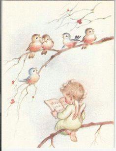 Vintage Rust Craft Christmas Card Angel on A Branch with Birds Retro Christmas, Vintage Christmas Cards, Christmas Pictures, Christmas Angels, Christmas Art, Christmas Drawing, Christmas Paintings, Vintage Greeting Cards, Vintage Postcards