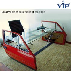 Made from recycled real car doors this beautifully furnished, eco sensitive, office desk is sure to catch attention!