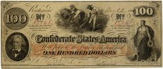 Type 41 Interest bearing confederate money in the denomination of This note features John C. Calhoun who was the Father of States Rights on the left. Hoe, The Color Of Money, 100 Dollar Bill, Dollar Bills, Confederate States Of America, Old Money, Old Coins, American Civil War, American History