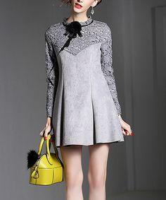 Gray Lace Fit & Flare Dress #zulily #zulilyfinds
