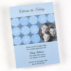 Unique holiday party invitations features favorite photo and winter snowflakes Winter Snowflake - Photo Party Invitation - Shimmer Item Number:EAP51B5D  by The Office Gal Carlson Craft