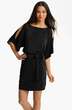 d88a383a60389 ... Tunic Swim Cover Up color use. See more. split dress | Trina Turk  Bernice Split Sleeve Blouson Jersey Dress in Black - Lyst Trina