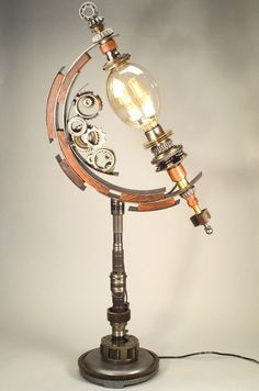 Items similar to A Floor Lamp Named BINARY - A Single Glass Housing holds Dual Tubular Bulbs - Full Steampunk Ahead! on Etsy Lampe Steampunk, Steampunk House, Design Steampunk, Steampunk Furniture, Luminaire Led, Steampunk Accessories, Style Deco, Desk Light, Pipe Lamp