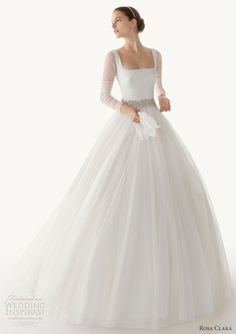 rosa clara 2013 belinda ball gown wedding dress with square neck and long sleeves