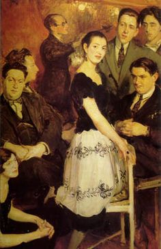 I love Les six =)  Le Groupe des six, 1921 painting by Jacques-Émile Blanche. In the center: pianist Marcelle Meyer. On the left, from bottom to top: Germaine Tailleferre, Darius Milhaud, Arthur Honegger, Louis Durey. On the right, standing Francis Poulenc, Jean Cocteau; and seated Georges Auric.--Lala