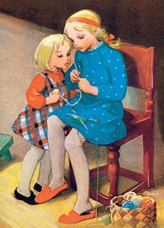 Martta Wendelin postcard (Finland) by katya. Vintage Cards, Vintage Postcards, Vintage Images, Happy Merry Christmas, Christmas 2019, Knit Art, Children's Book Illustration, Vintage Children, Vintage Sewing