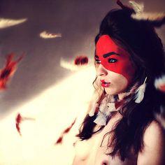 feathers/mask makeup