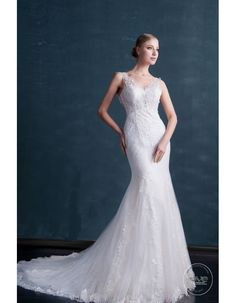 f18b7f97ab Stunning sheer lace strap shoulder sweetheart lace appliques mermaid court  train wedding dresses MS-583