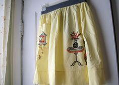 Vintage Half Apron Vintage  Embroidery  by VintagePlusCrafts, $10.00