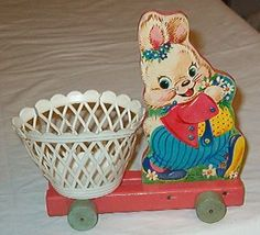 VINTAGE FISHER PRICE EASTER BUNNY BASKET CART