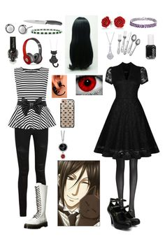 """Black Butler: Daughter of Sebastian Michaelis"" by ender1027 ❤ liked on Polyvore featuring Fogal, Sebastian Professional, Vivienne Westwood, Bling Jewelry, BERRICLE, Essie, Yves Saint Laurent, WearAll, Dr. Martens and Anolon"