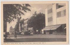 1948-BATHURST-New-Brunswick-Canada-Postcard-NB-KING-STREET-Bicycle-Stores