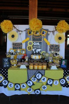 """Oh The Places He'll Go"" Dr. Seuss Themed Graduation Party via KarasPartyIdeas.com #DessertTable #DrSeuss #GraduationParty"