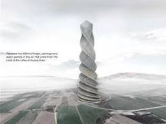 Coastal fog tower: harvesting water from the air Water From Air, Rain Barrel, Rainwater Harvesting, Interesting Buildings, Cool Inventions, Green Building, Amazing Architecture, Sustainability, Skyscraper