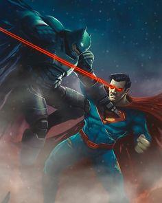 Batman v Superman by @AaronRandallArt