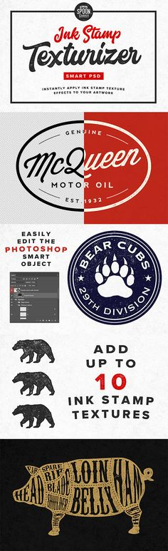 Easily add ink stamp texture effects to your logos, lettering and illustrations with the help of my new FREE Ink Stamp Texturizer. This Smart PSD for Adobe Free Ink Stamp Texturizer Smart PSD for Adobe Photoshop Adobe Photoshop, Photoshop Brushes, Retro Illustration, Graphic Design Illustration, Graphic Art, Illustrations, Photo Brush, Adobe Illustrator Tutorials, Photoshop Illustrator