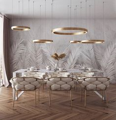 of the day: White + Gold dining room. Love the mesmerizing lighting and color s… of the day: White + Gold dining room. Love the mesmerizing lighting and color scheme! Luxury Dining Room, Dining Room Design, Room Interior, Home Interior Design, Luxury Interior, Deco Design, Living Room Decor, Living Rooms, House Design