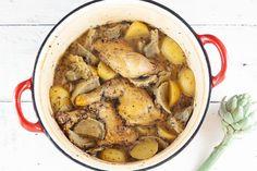 Artisjok met kip en aardappeltjes uit de oven