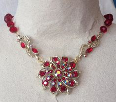 Red and Gold Necklace from Upcycled Vintage by heartsoftoday, $50.00